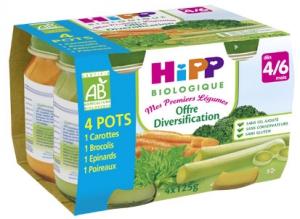 HIPP-Mes_Premiers_Lgumes-Offre_Diversification_1Carottes_1Brocolis_1Epinards_1Poireaux_A