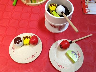service à fondue en bois, jouets Hape