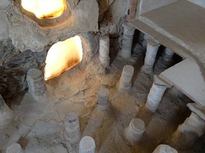 fouilles dans le hammam, les colonnes et le four